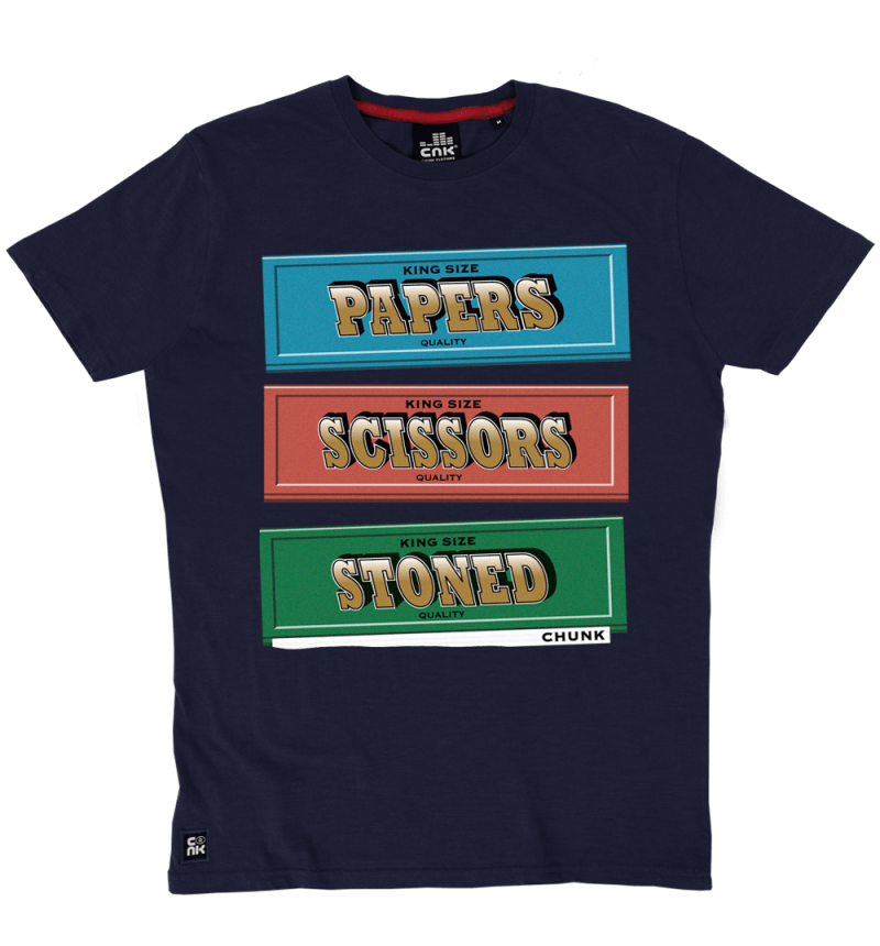Papers, Scissors, Stoned Tee - Navy